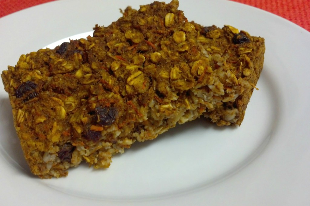 "It tastes like dessert, but is healthy enough for breakfast! Baked Pumpkin Carrot Oatmeal recipe is a great ""fix ahead"" breakfast or snack option."