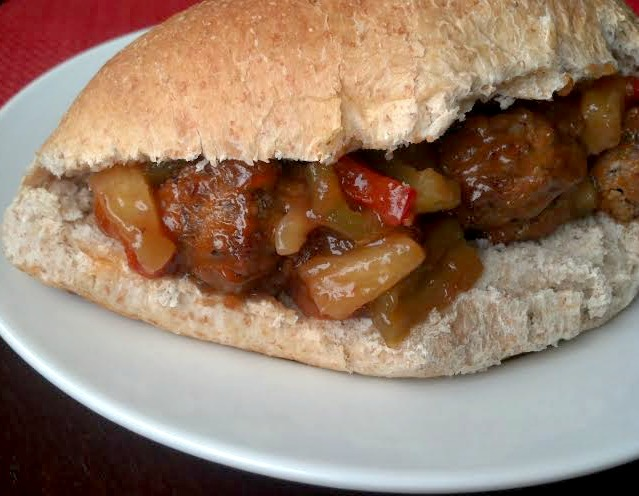 sweet and sour meatball sub