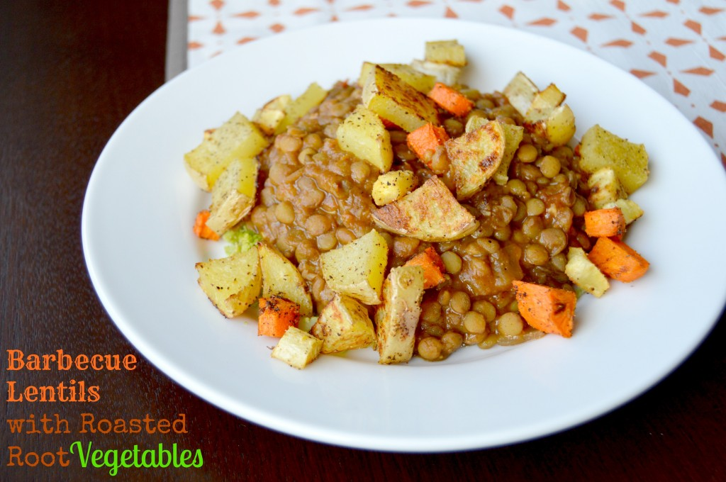 BBQ Lentils with Roasted Root Vegetables - Her Heartland Soul