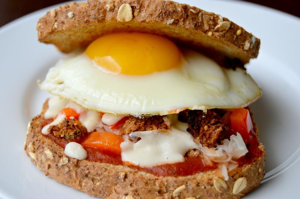 Breakfast Pizza Sandwich - Clean Eating Veggie Girl