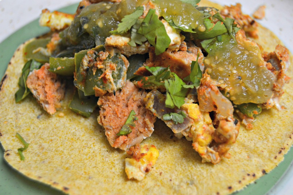 salmon egg scramble tacos