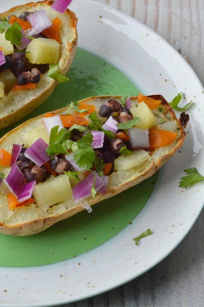 loaded BBQ bean and pineapple potato skins 2