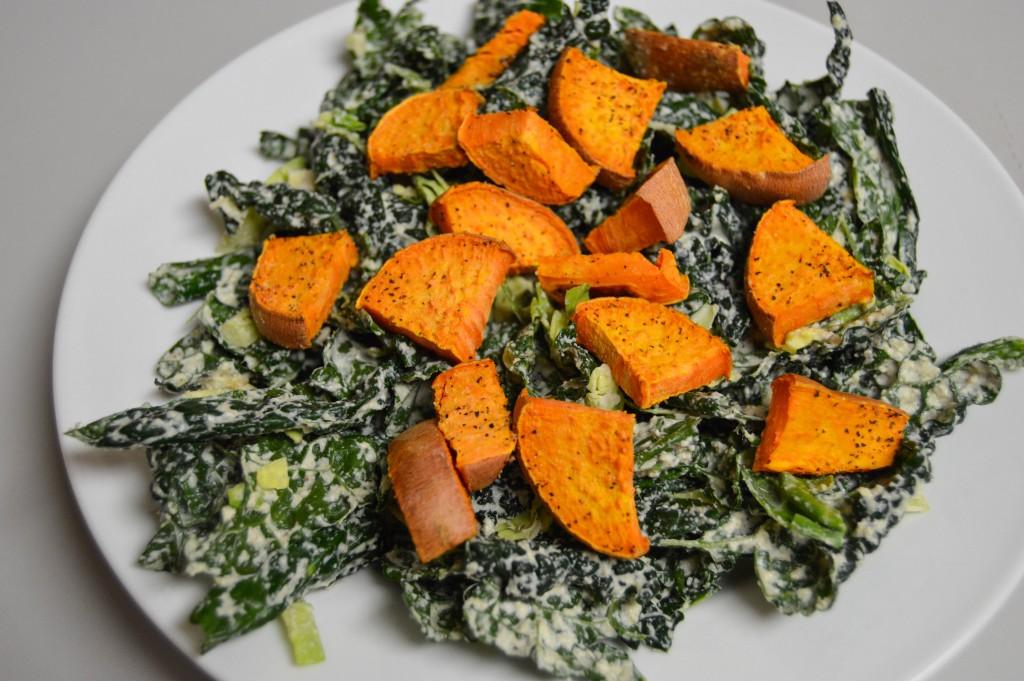 FFF kale sweet potato salad