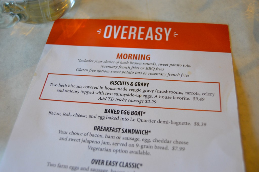 Over Easy Omaha menu