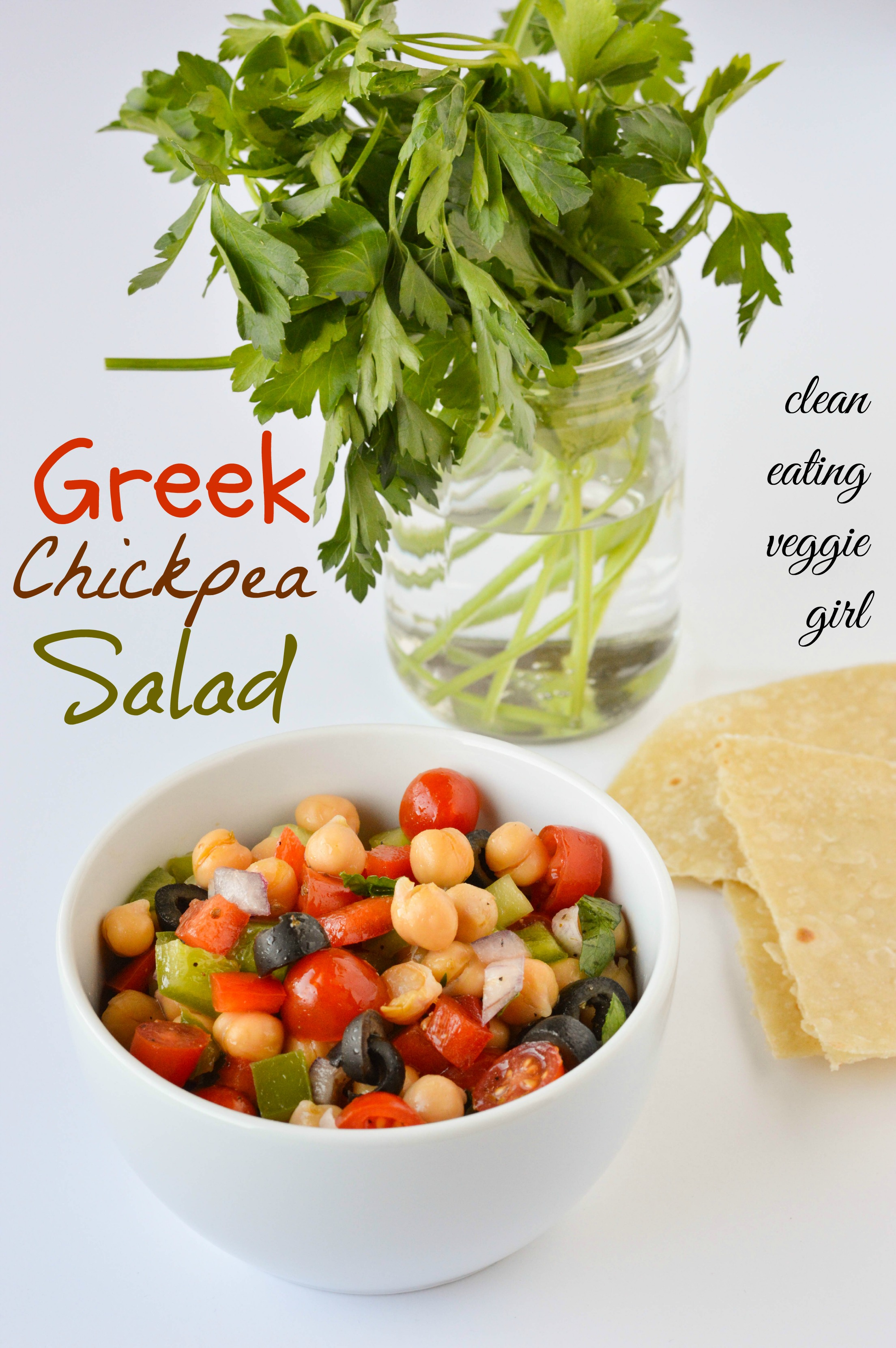super simple Greek-inspired chickpea salad that is chock full of ...