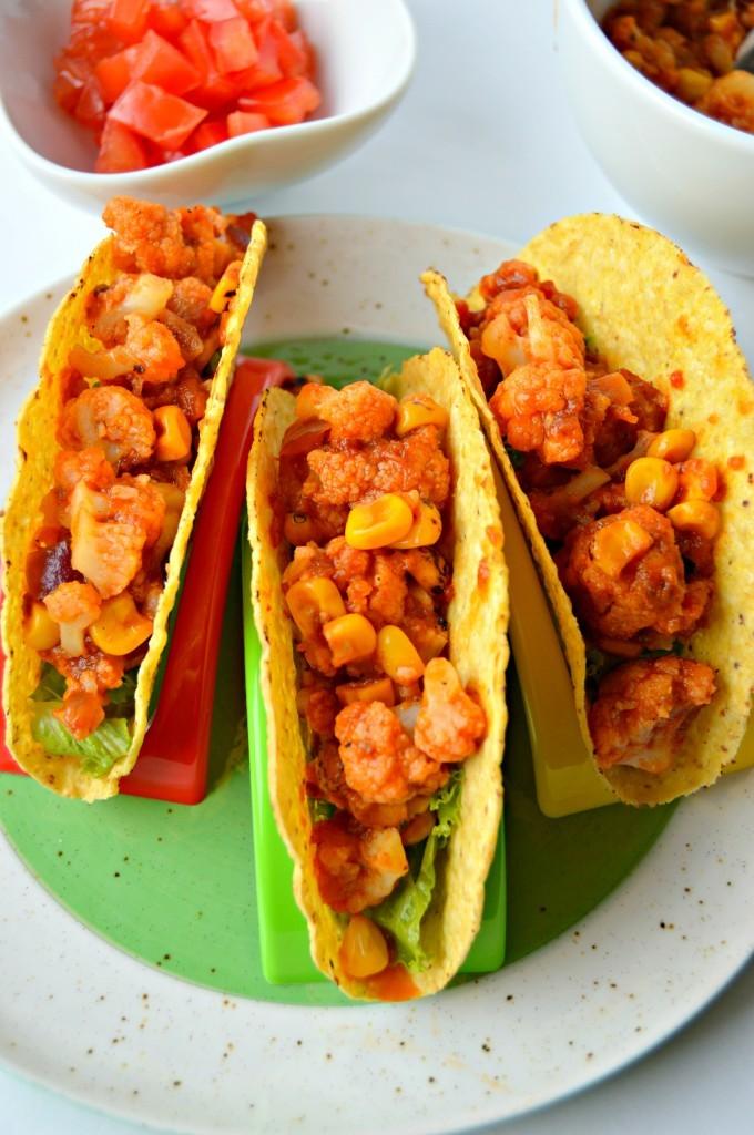 cinco de mayo cauliflower and corn tacos