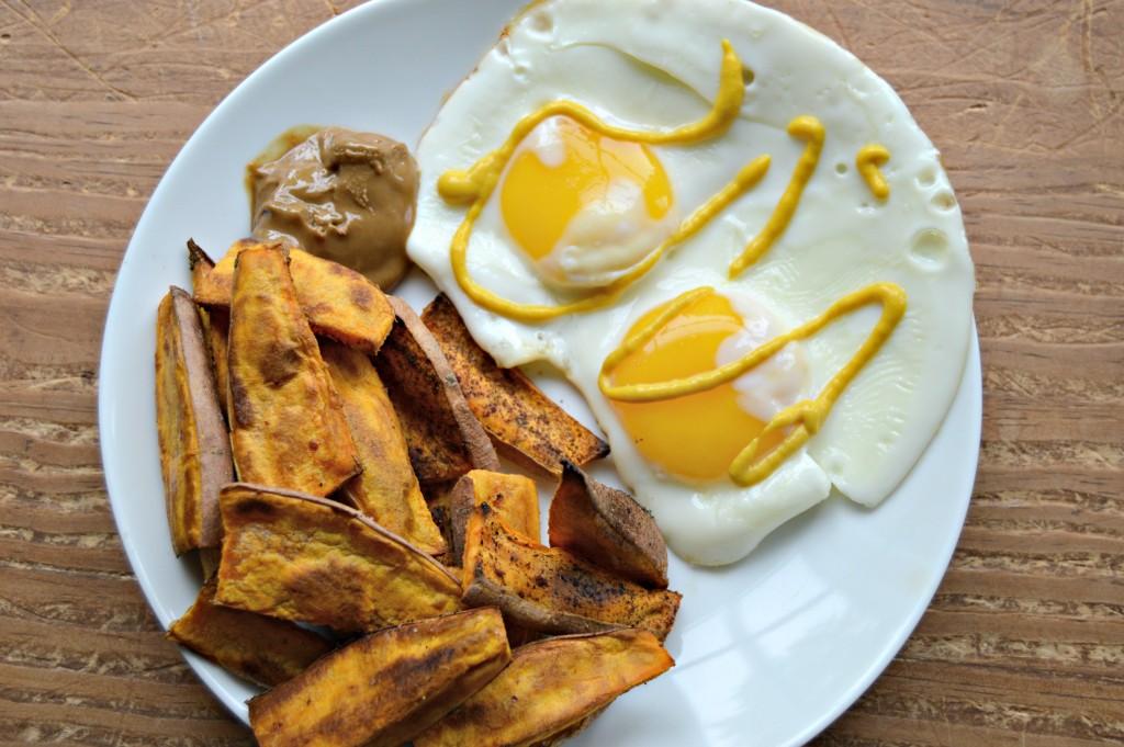 sweet potato fries and eggs