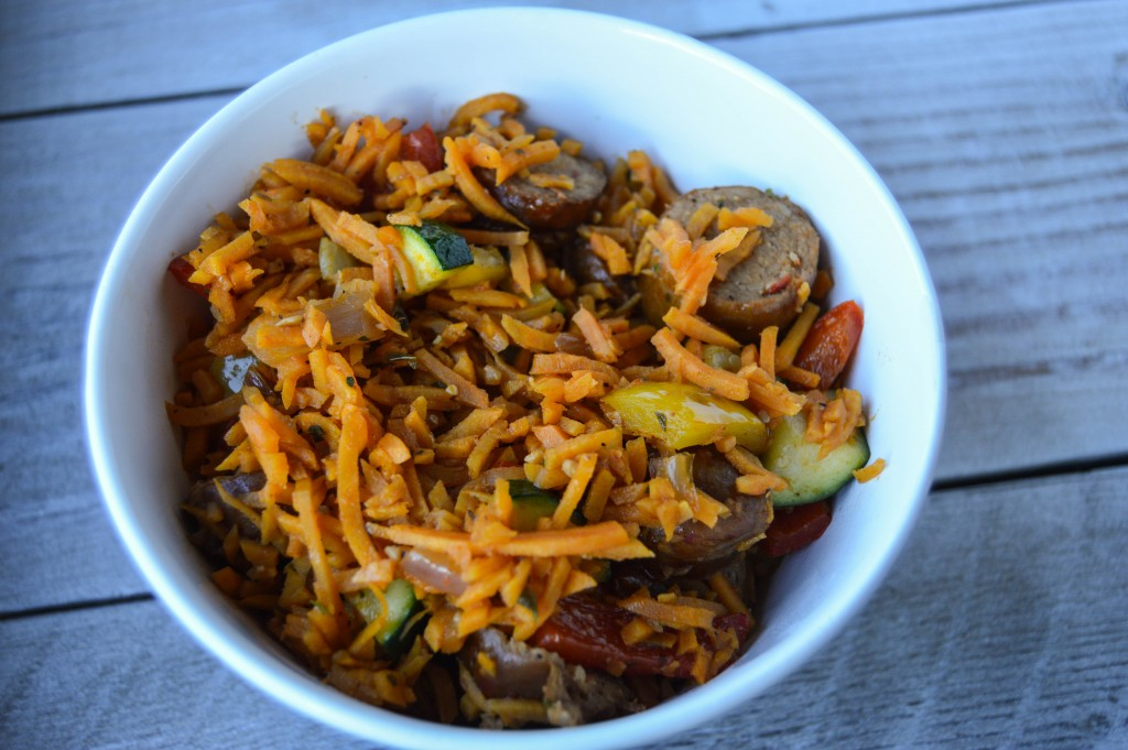 chorizo with peppers and sweet potato dirty rice