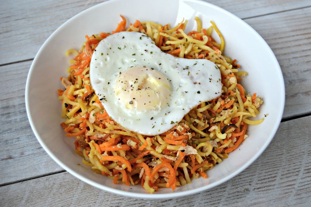 spiralized parsnip sweet potatoes salmon egg