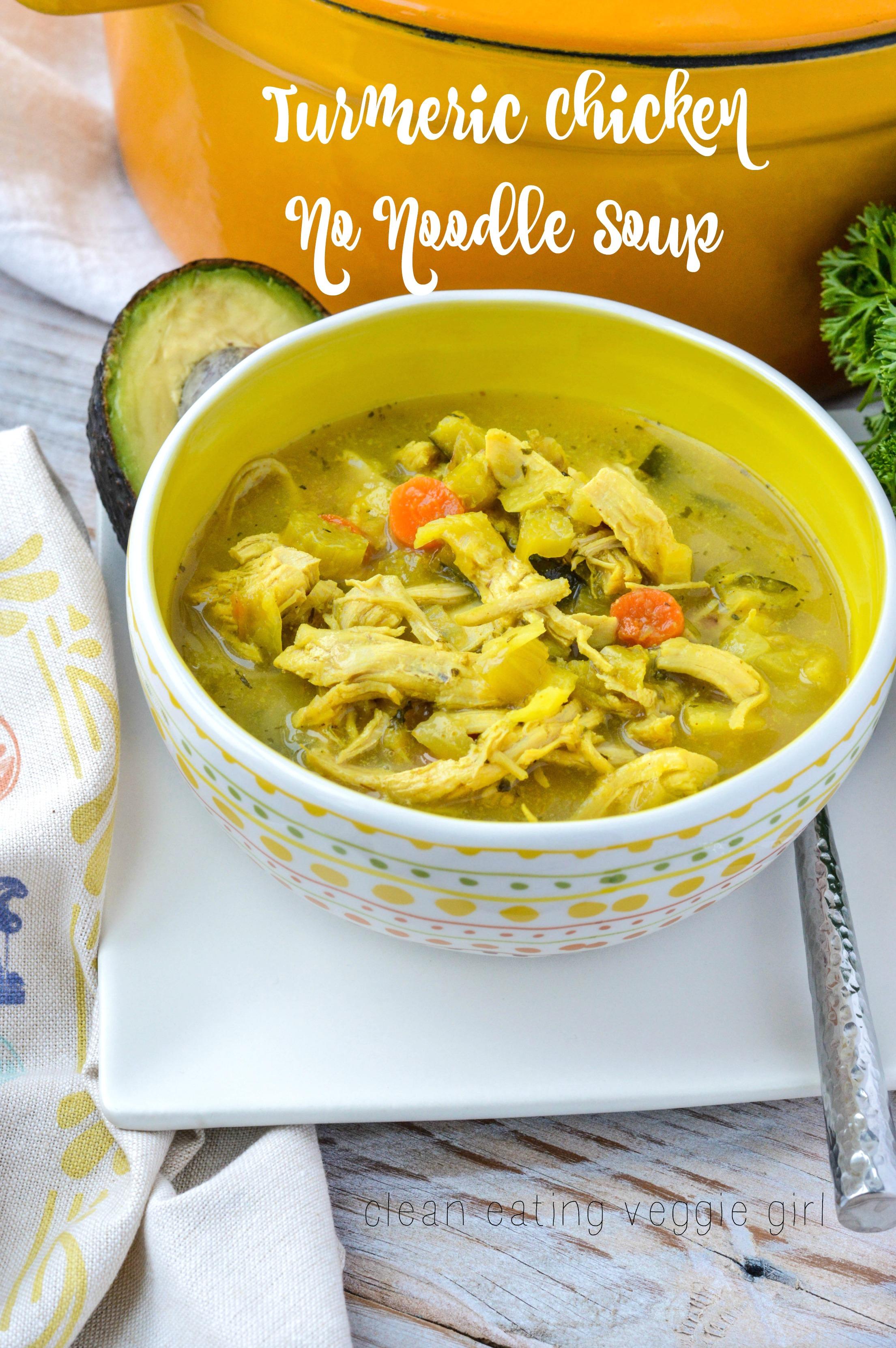 Turmeric Chicken No Noodle Soup Aip Paleo Gluten Free Grain