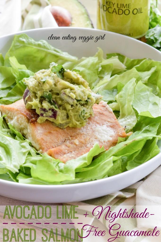 Avocado Lime Baked Salmon + Nightshade-Free Guacamole {AIP Paleo, gluten-free, grain-free, dairy-free} | cleaneatingveggiegirl.com
