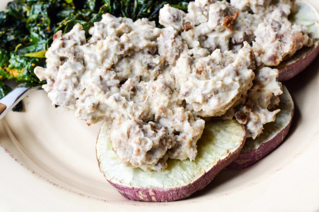 AIP Paleo Sweet Potato Biscuits and Cauliflower Gravy {Gluten-Free, Grain-Free, Dairy-Free, Nightshade-Free} | cleaneatingveggiegirl.com