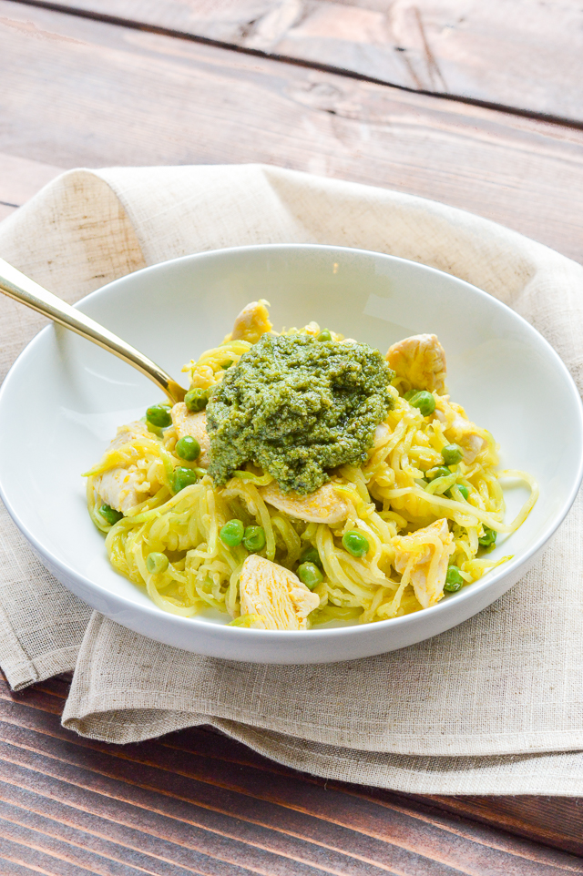 Pesto Chicken Zucchini Noodles {Paleo, Gluten-Free, Grain-Free, Dairy-Free, Egg-Free, Soy-Free} | cleaneatingveggiegirl.com