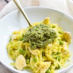 Pesto Chicken Zucchini Noodles {Paleo-Friendly, Gluten-Free, Grain-Free, Dairy-Free, Egg-Free, Soy-Free, Nightshade-Free} | cleaneatingveggiegirl.com