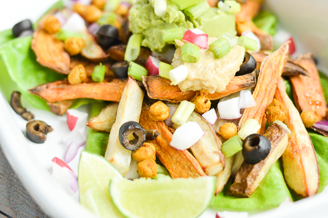 Loaded Taco French Fries with Roasted Chickpeas {Gluten-Free, Grain-Free, Vegan, Vegetarian, Nightshade-Free} | cleaneatingveggiegirl.com