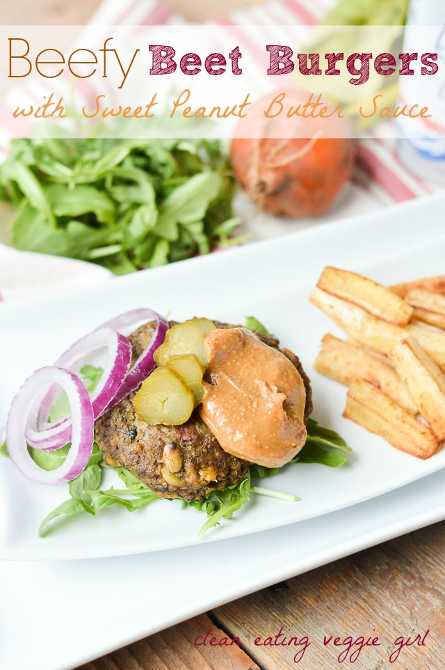 Beefy Beet Burgers with Sweet Peanut Butter Sauce {Paleo-Friendly, Gluten-Free, Grain-Free, Dairy-Free, Egg-Free, Nut-Free, Soy-Free, Nightshade-Free} | cleaneatingveggiegirl.com