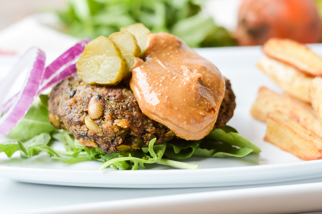 Beefy Beet Burgers with Sweet Peanut Butter Sauce {Paleo-Friendly, Gluten-Free, Grain-Free, Dairy-Free, Egg-Free, Soy-Free, Nightshade-Free} | cleaneatingveggiegirl.com