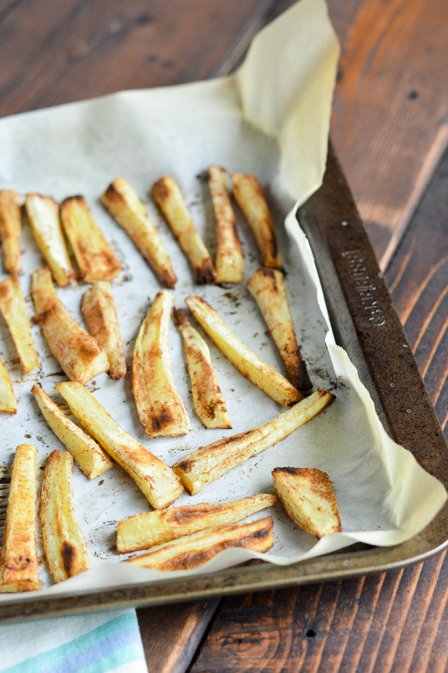 Sweet Cinnamon Parsnip Fries are the perfect side or dessert. Plus, they're AIP Paleo, Vegan, and Gluten-Free! | cleaneatingveggiegirl.com