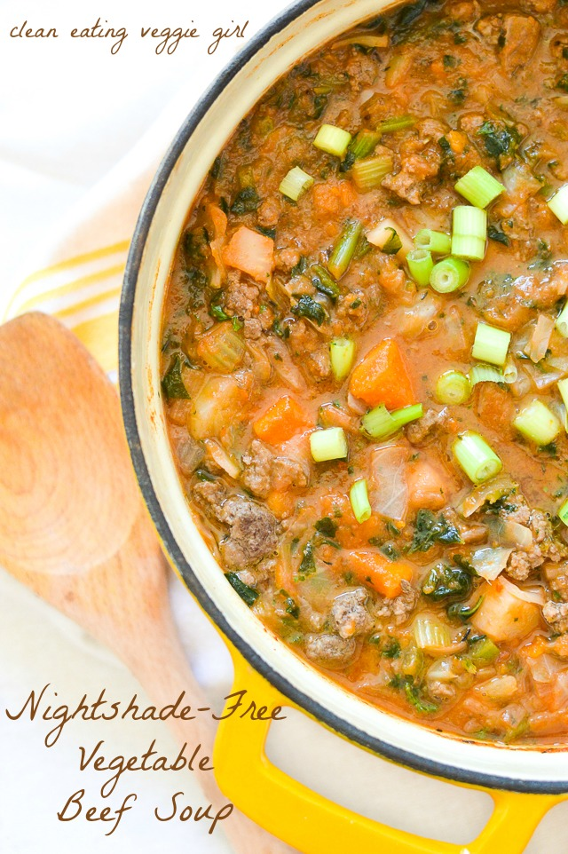 Nightshade-Free Vegetable Beef Soup {AIP Paleo, Gluten-Free, Grain-Free, Dairy-Free, Soy-Free, Whole 30} | cleaneatingveggiegirl.com