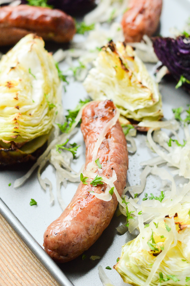 This Sheet Pan Sausage and Cabbage with Sauerkraut only dirties one pan and is nearly entirely hands-off! {AIP Paleo, Gluten-Free, Grain-Free, Dairy-Free, Nightshade-Free, Whole 30} | cleaneatingveggiegirl.com