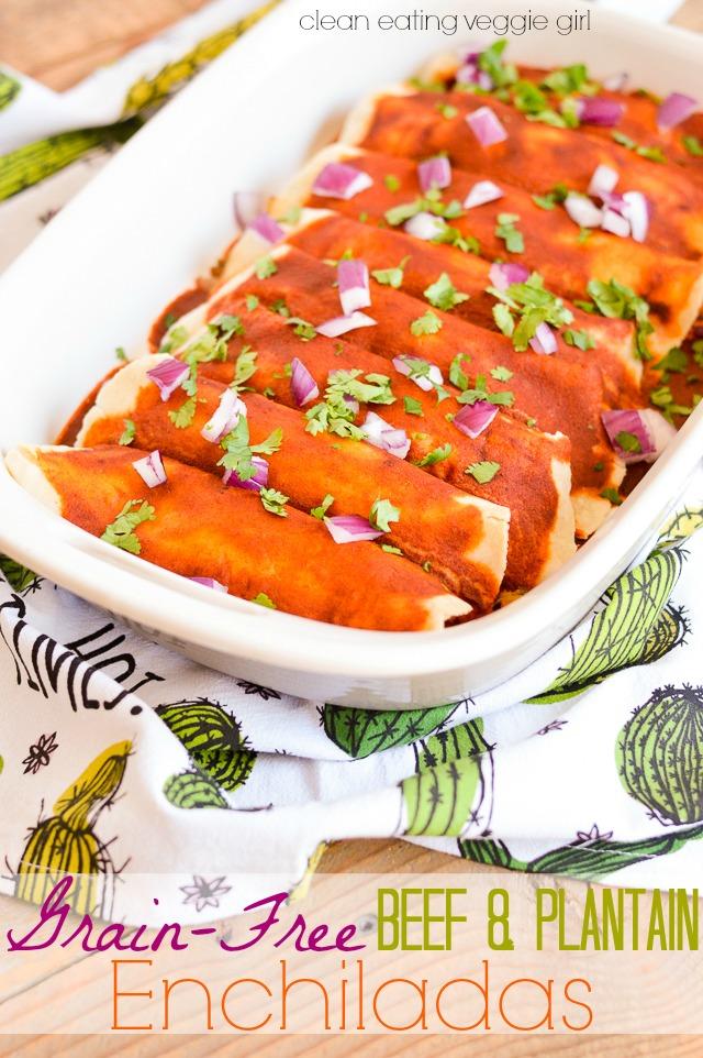 Grain-Free Beef & Plantain Enchiladas {Paleo, Gluten-Free, Grain-Free, Dairy-Free, Soy-Free, Nut-Free} | cleaneatingveggiegirl.com