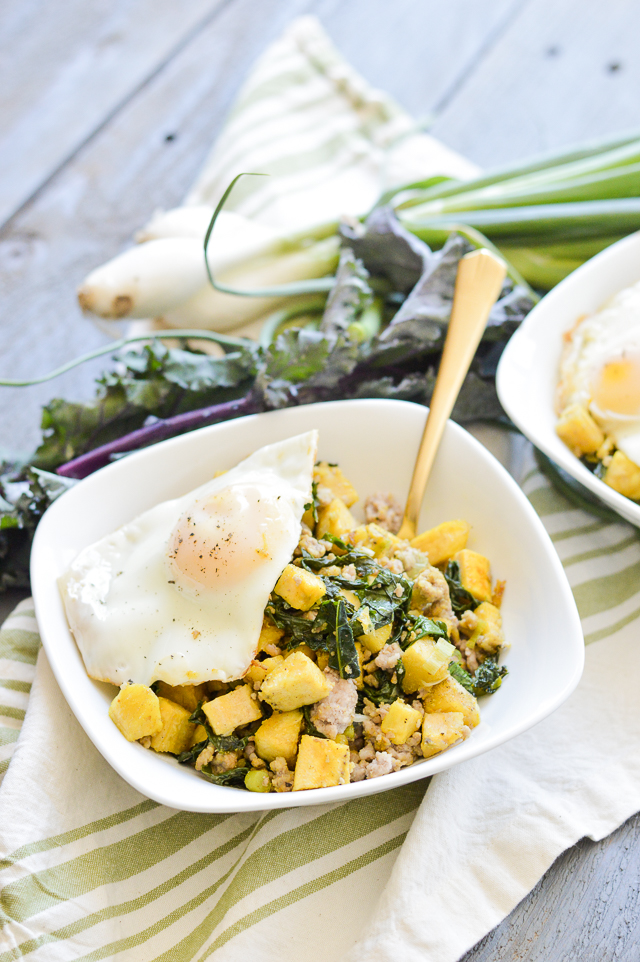Fried Plantain and Sausage Breakfast Bowl makes for a quick, healthy gluten-free breakfast!