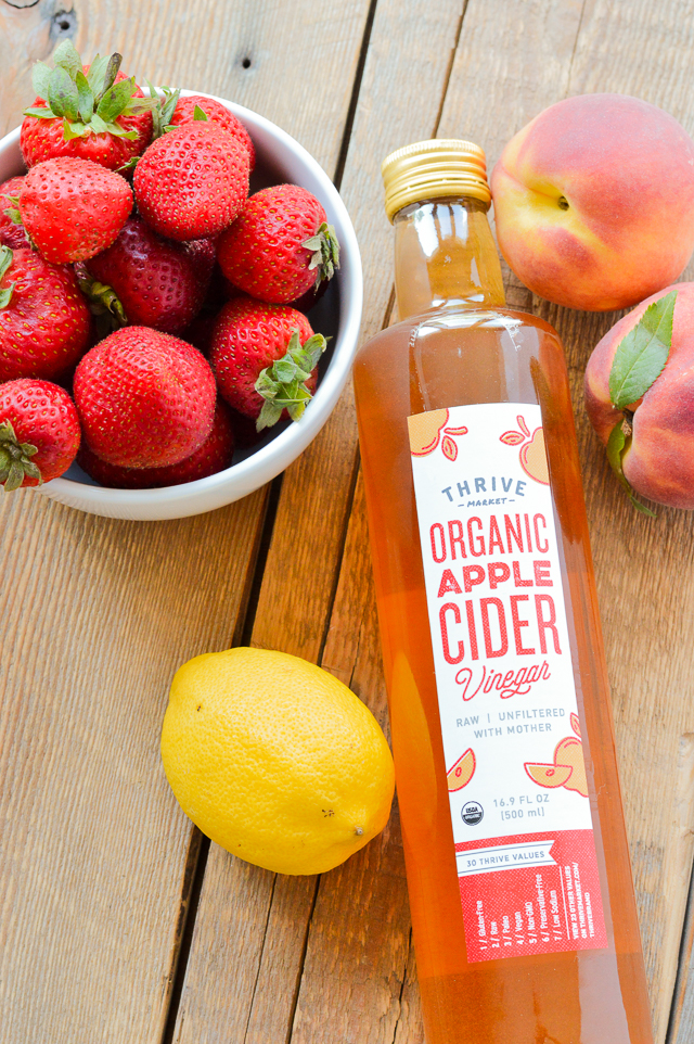 Homemade Strawberry Peach Drinking Vinegar