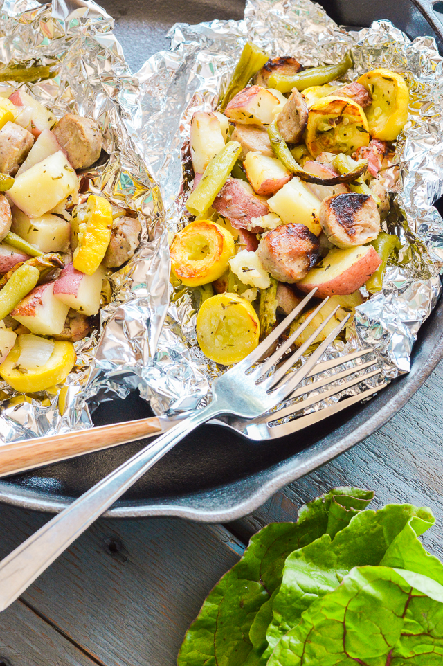 Chicken Sausage and Vegetable Foil Packets are perfect for the grill. They're Paleo, gluten-free, dairy-free, healthy, and easy!