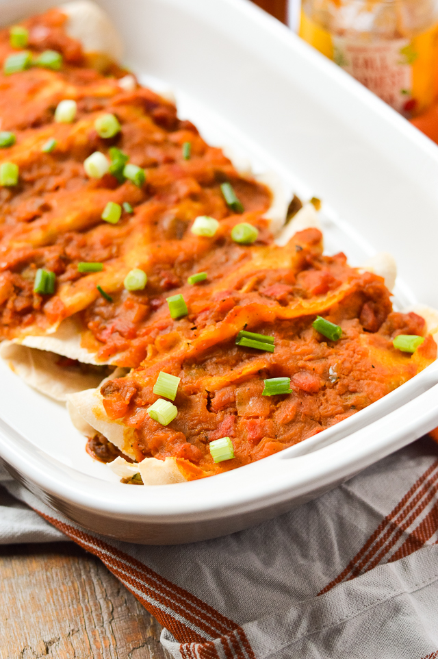These Fall-inspired Paleo Beefy Butternut Squash Enchiladas are the perfect dinner recipe for Mexican night or for gluten-free meal prep during the busy work week!