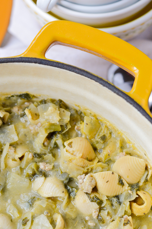 Lemony Kale and Sausage Soup is the perfect gluten-free, dairy-free soup for a cold Fall or Winter night dinner.