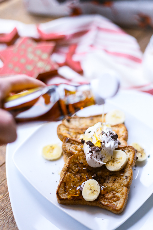 gluten free banana french toast with pure maple syrup drizzle