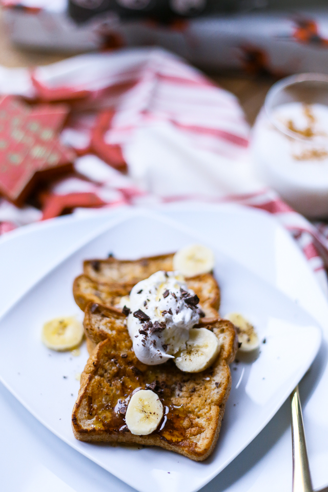 Christmas french toast recipe for one with bananas coconut whipped cream chocolate and syrup