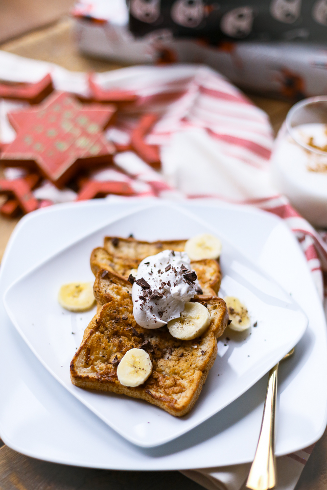 gluten free french toast with whipped cream bananas chocolate and maple syrup for christmas