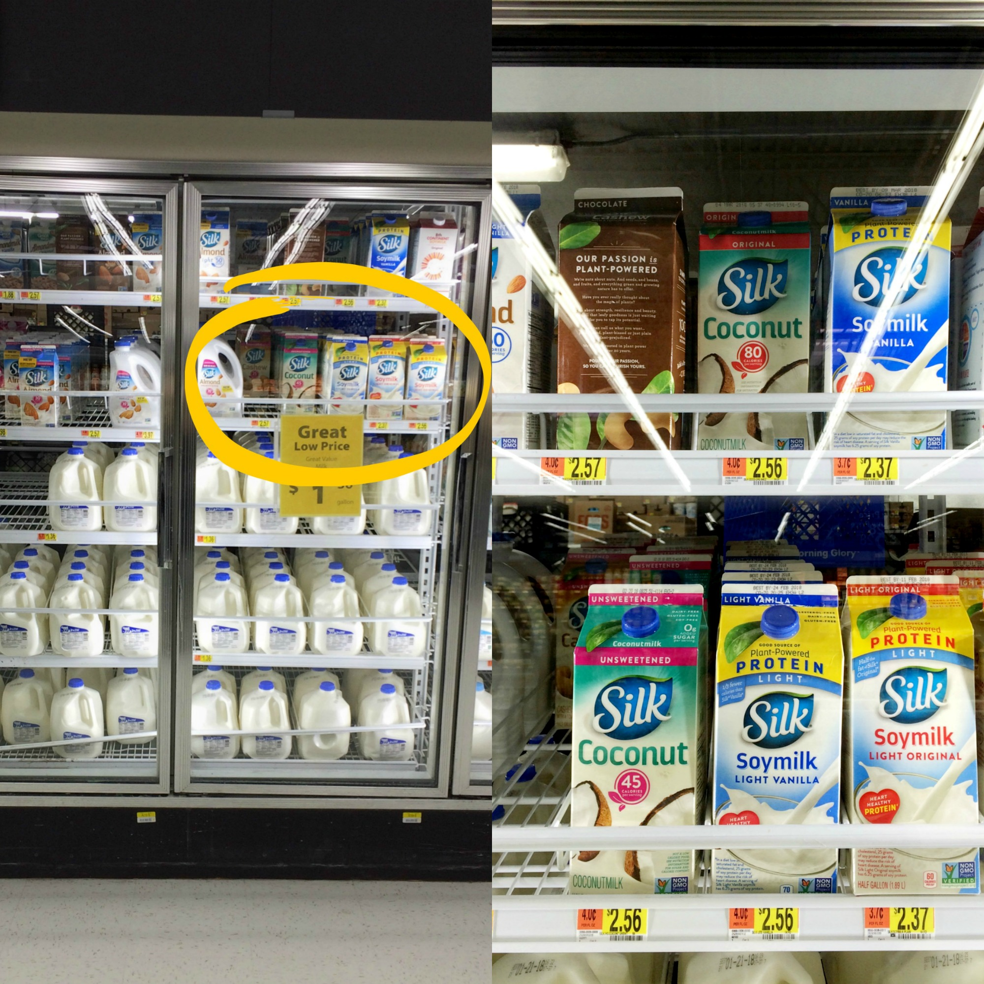 Silk milk half gallons at Walmart