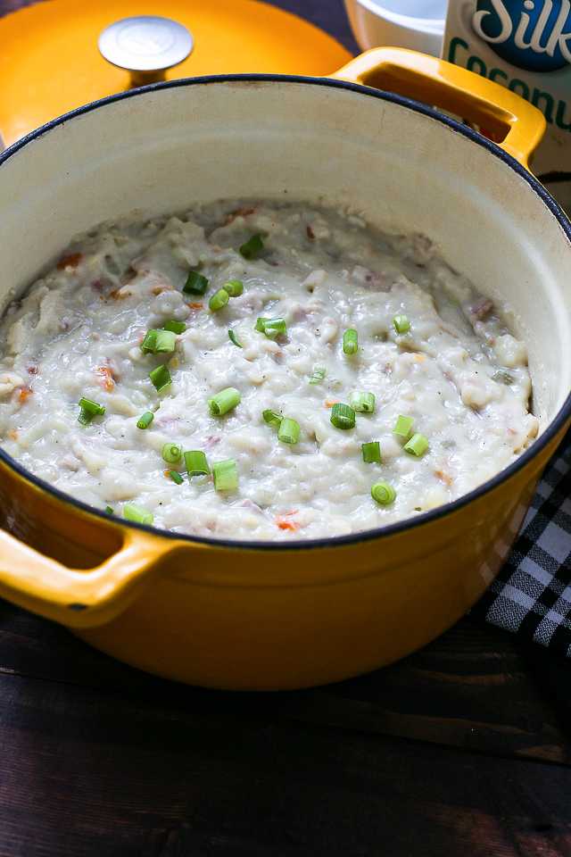 baked potato soup in yellow dutch oven