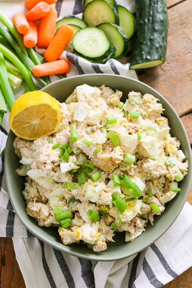 tuna egg potato salad in green bowl