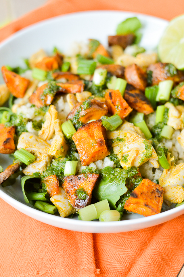 chimichurri sauce cauliflower rice burrito bowl with sweet potatoes