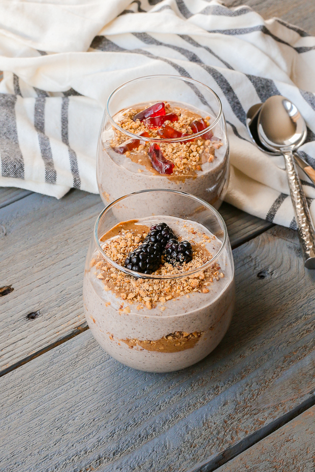 Healthier Paleo and Gluten-Free Creamy Coconut Chia Pudding Dirt Cup Parfaits are perfect for breakfast, as a snack, or for dessert! #glutenfree #Paleo #dairyfree #dirtcup #dessert #breakfast