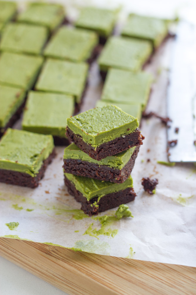 raw matcha brownies dessert