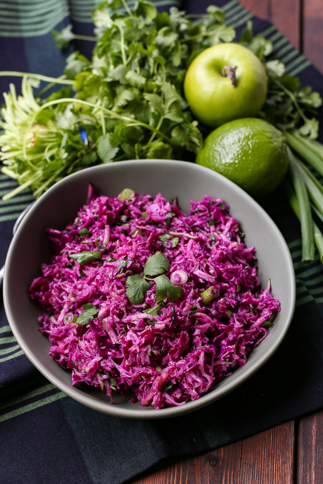 Healthy Purple Paleo Mayo-Free Coleslaw Recipe