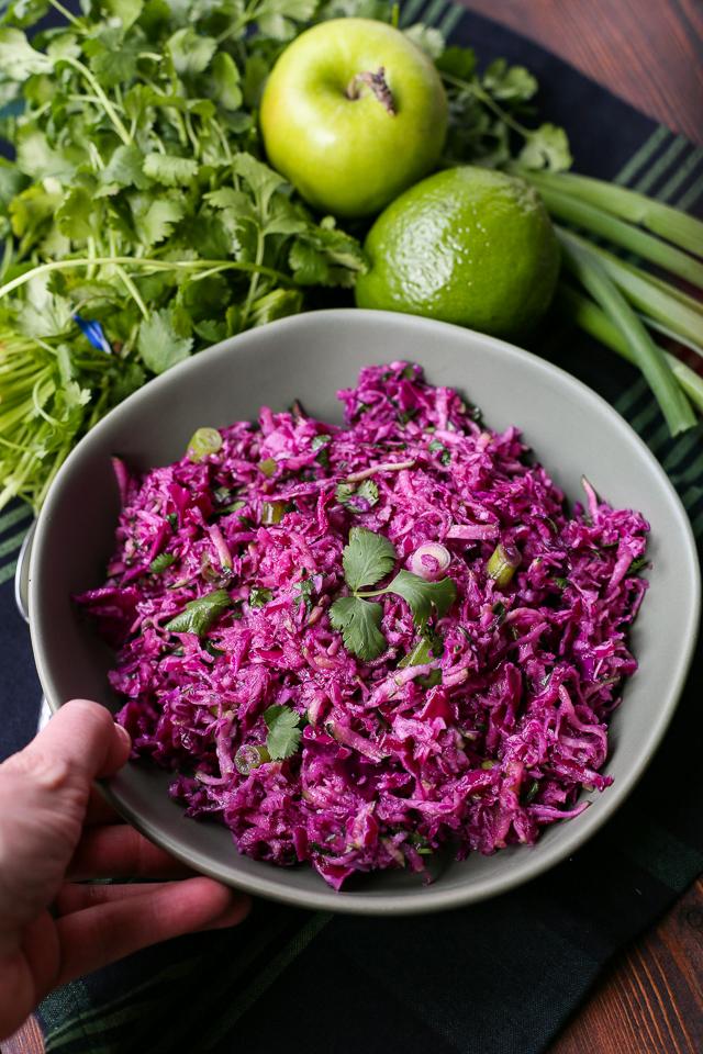 Healthy Purple Paleo Mayo-Free Coleslaw Recipe